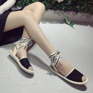 Canvas Slingback Tie Up Sandals -