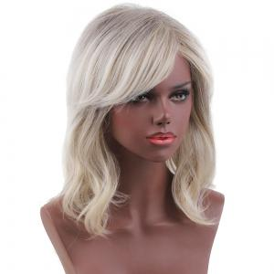 Short Colormix Side Bang Slightly Curly Human Hair Wig - COLORMIX