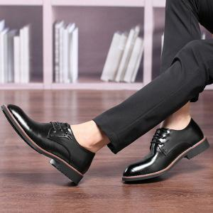 Faux Leather Metal Embellishment Formal Shoes - BLACK 42