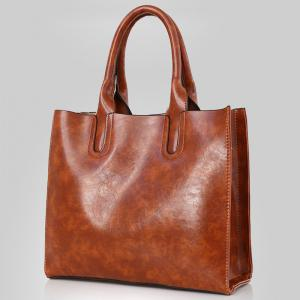 PU Leather 3 Pieces Tote Bag Set - BROWN