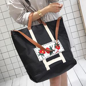 Flower Embroidered PU Leather Tote Bag -