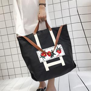 Flower Embroidered PU Leather Tote Bag - BLACK