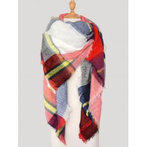 Wool Blend Square Plaid Warm Scarf - RED