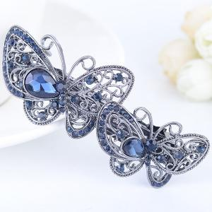 Double Butterfly Hollow Out Faux Gem Barrette -