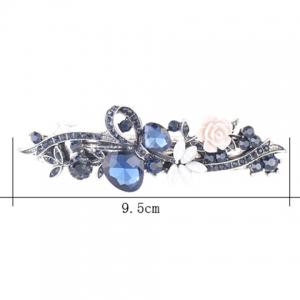 Floral Inlay Inlay Tiny Rose Embellished Barrette - Bleu