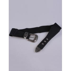 Pin Buckle Vintage Engraved Elastic Waist Belt -