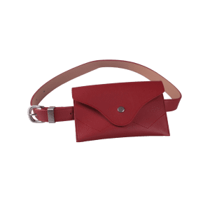 Faux Leather Pin Buckle Waist Belt with Bag - RED