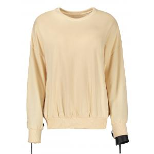 Casual Selt Tie Lace Up Sweatshirt - APRICOT S