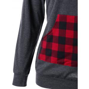 Elbow Patch Kangaroo Pocket Plaid Hoodie - MOUSE GREY M