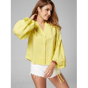 Button Up Puff Sleeve Striped Shirt - YELLOW M