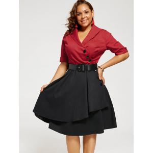 Plus Size Two Tone A Line Vintage Dress -