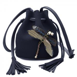 Drawstring Dragonfly Embellished Bucket Bag - Black