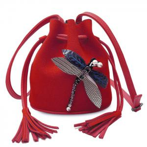 Drawstring Dragonfly Embellished Bucket Bag - Red - 38