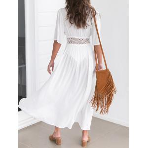 Maxi Lace Insert Cover Up Dress - WHITE L