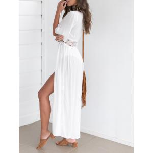 Maxi Lace Insert Cover Up Dress - WHITE M