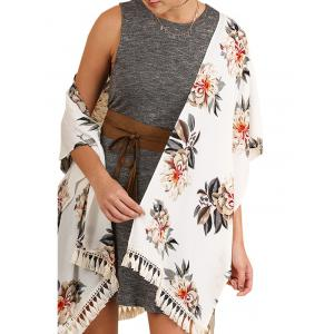 Floral Print Tassels Cover Up - WHITE M