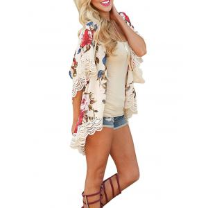 Lace Insert Floral Chiffon Cover Up - Floral XL