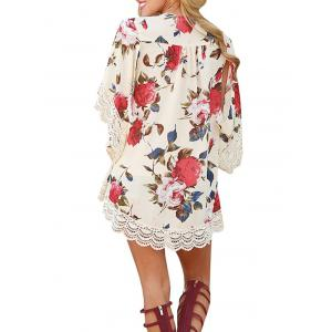 Lace Insert Floral Chiffon Cover Up - Floral M