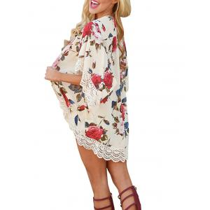 Lace Insert Floral Chiffon Cover Up