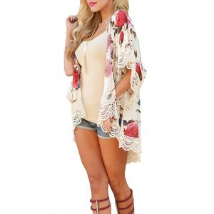 Lace Insert Floral Chiffon Cover Up - FLORAL S