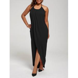 Plus Size Halter High Slit Maxi Dress