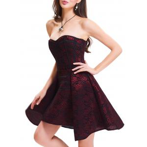 Strapless Floral Lace-up Short Cocktail Dress - RED 2XL