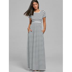 T-shirt rayé à long Robe maxi -