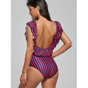 Flounce One Piece Striped Swimsuit -