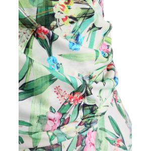 Leaves Floral Print Plus Size Surplice Dress -