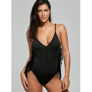Cross Back High Cut Swimsuit with Fringe -