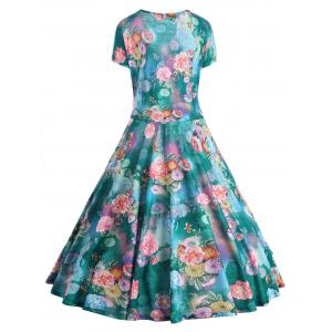 Floral Print Plus Size Pin Up Dress -