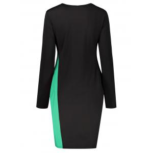 Plus Size Two Tone Long Sleeve Work Dress -