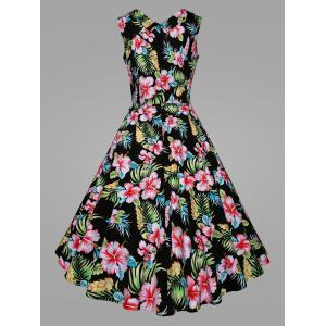 Plus Size Tropical Floral Midi Vintage Dress -