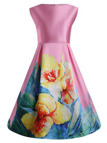 Shops 3D Print Floral Plus Size Vintage Dress with Pockets PINK XL