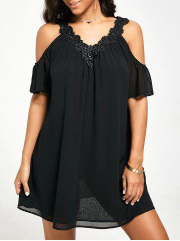 Unique Cold Shoulder Chiffon Swing Shift Dress