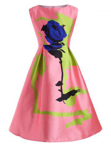 New Rose Plus Size Sleeveless Vintage Fit and Flare Dress - 4XL PINK Mobile