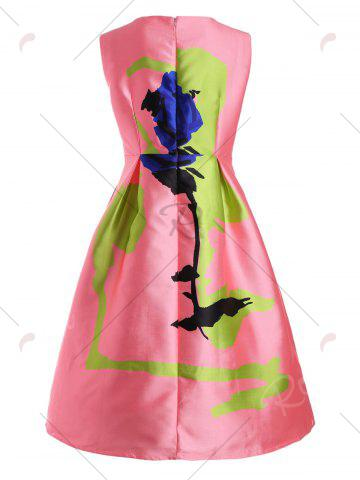 Fancy Rose Plus Size Sleeveless Vintage Fit and Flare Dress - 5XL PINK Mobile