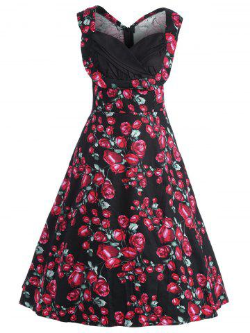 Best Plus Size Floral Printed Midi 1950s Style Dress - 3XL BLACK Mobile