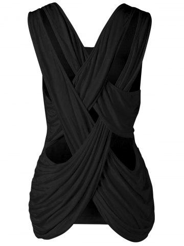 Criss Cross Scoop Neck Tank Top Noir M