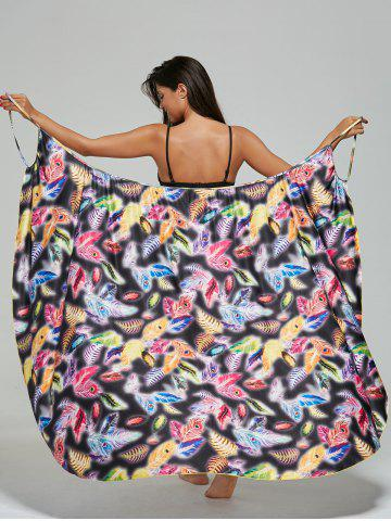 Fancy Feather Print Convertible Wrap Sarong Cover-Up Dress COLORMIX M