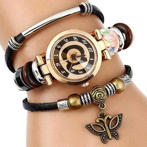 Outfits Faux Leather Strap Number Charm Bracelet Watch - BLACK  Mobile