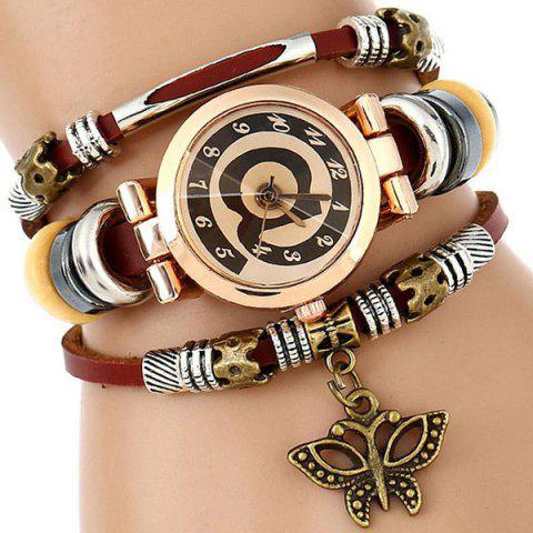 Shop Faux Leather Strap Number Charm Bracelet Watch - WINE RED  Mobile