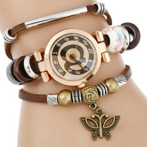 Discount Faux Leather Strap Number Charm Bracelet Watch - COFFEE  Mobile