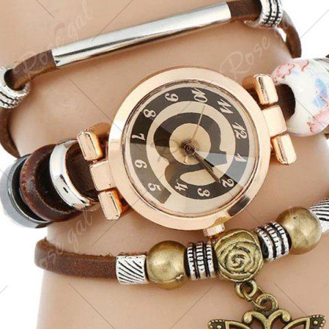 Outfits Faux Leather Strap Number Charm Bracelet Watch - COFFEE  Mobile