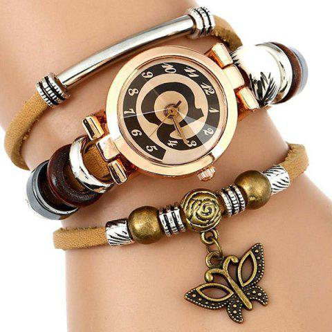 Trendy Faux Leather Strap Number Charm Bracelet Watch - BROWN  Mobile