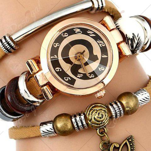 Cheap Faux Leather Strap Number Charm Bracelet Watch - BROWN  Mobile