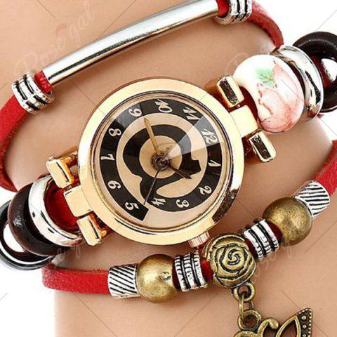 Discount Faux Leather Strap Number Charm Bracelet Watch - RED  Mobile