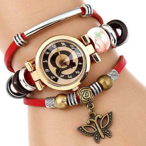 Online Faux Leather Strap Number Charm Bracelet Watch - RED  Mobile