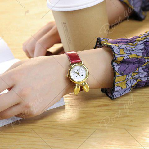 Outfit Faux Leather Strap Rabbit Ears Quartz Watch - RED  Mobile