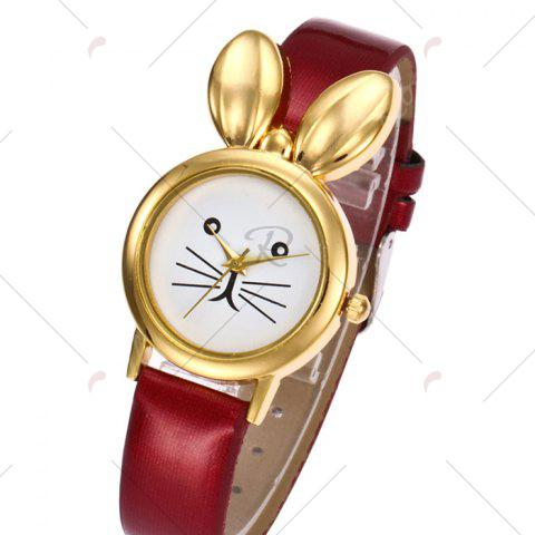 Affordable Faux Leather Strap Rabbit Ears Quartz Watch - RED  Mobile